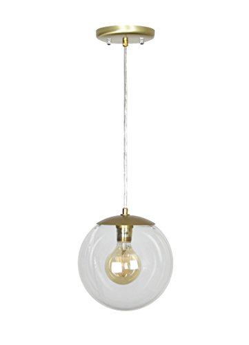 Pendant Clear Satin Gold (EQLight EQMC1CG8 Modern Mid 1-Light Clear Globe Pendant, Gold)