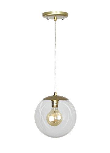 Satin Pendant Clear Gold (EQLight EQMC1CG8 Modern Mid 1-Light Clear Globe Pendant, Gold)