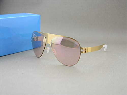 gold VS Pink Luxury Sunglasses Brand Designer Franz Celebrity Hand Made Mirror Sunglasses Men&Women gold Flash Pilot Aviator Sun Glasses  (Lenses color  gold VS Green)