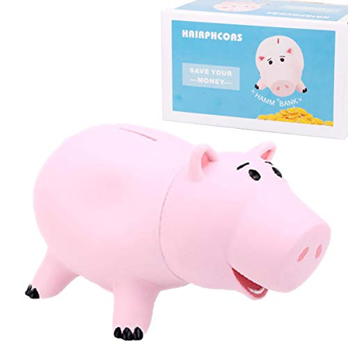 HairPhocas Cute Pink Pig Money Box Plastic Piggy Bank for Kid's Birthday Gift with -