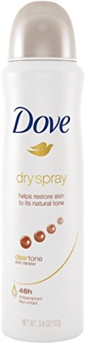 Dove Dry Spray Antiperspirant, Clear Tone Skin Renew 3.8 oz Pack of 8