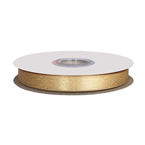 DUOQU 3/8 inch Wide Sparkle Satin Ribbon with Gold Glitter 20 Yards Roll Raw - Satin Glitter