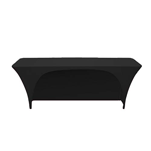 Your Chair Covers - Stretch Spandex 8 Ft x 18 Inches Open Back Rectangular Table Cover Black, 96 Length x 18 Width x 30 Height Fitted Tablecloth for Standard Classroom Folding Tables