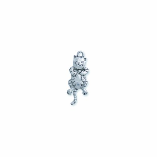 Shipwreck Beads Pewter Moving Cat Charm, Silver, 12 by 33mm, -