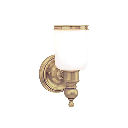 Hudson Valley 6301-AGB, Chatham Glass Wall Sconce Lighting, 1 Light, 100 Total Watts, Brass