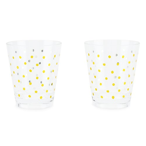 True Fabrication Gold Dots Acrylic Cups (Set of 2), Multi Color
