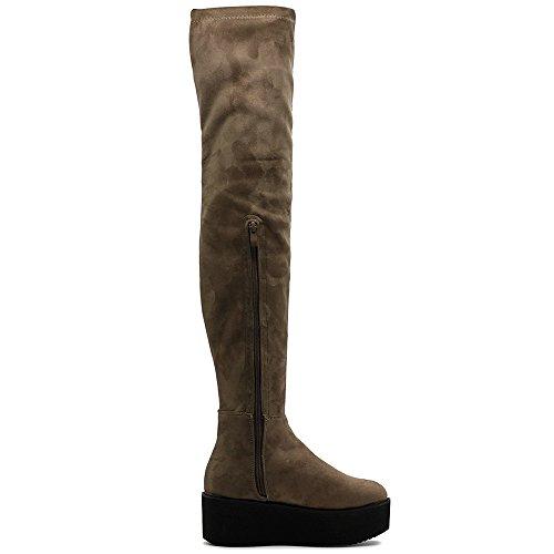 Ollio Frauen Schuh Stretch Faux Wildleder oder Kunstleder Oberschenkel-High Flat Platform High Heel Lange Stiefel Taupe-SU