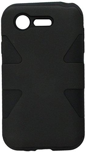 HR Wireless Dynamic Slim Hybrid Case for LG Optimus Zone 2 L34C Fuel - Retail Packaging - Black