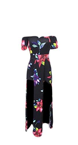 Maweisong Femmes De La Mode Florale Plage Hors Épaule Haute Robe Maxi Basse Salopette Barboteuse Maxi Split 5