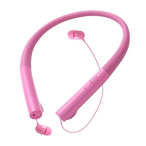 ThreeMay Bluetooth Headphones Wireless Retractable Neckband Headset Stereo Noise Cancelling Earbuds with Mic for Cellphones-Pink -