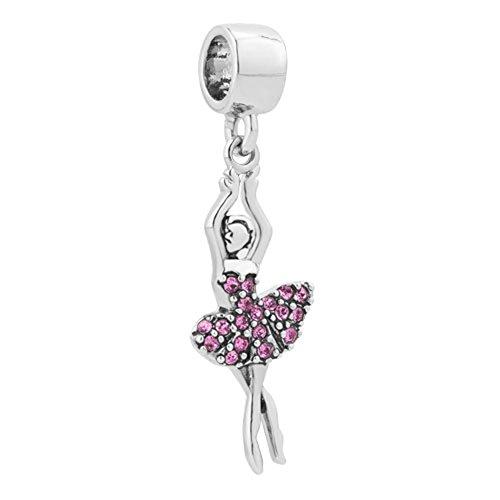 ThirdTimeCharm Ballet Dancer Charm Love To Dance Beads For Bracelets (Crystal)