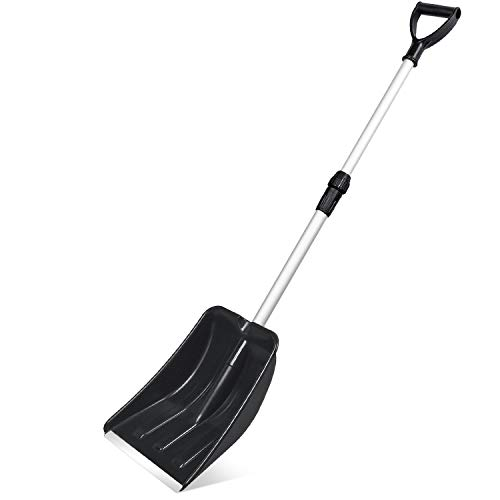 Review Micbox Snow Shovel with 46'' Adjustable Aluminum Handle 10.5'' Wide Blade Scoop Shovel, Diggi...