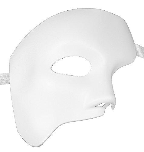 [RedSkyTrader Mens Phantom White Plain Resin Mask One Size Fits Most White] (Plain White Mask Costume)