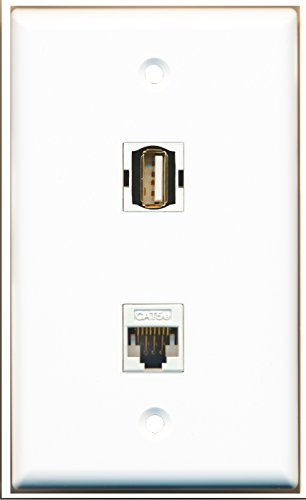 RiteAV - 1 USB A/A and 1 Cat5e White Ethernet Port Wall Plate