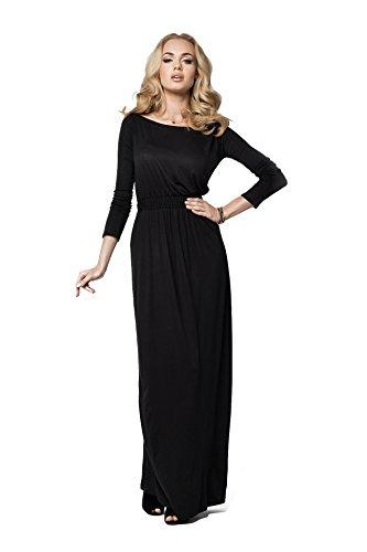 Futuro Fashion Elegant Empire Robe Maxi Longue Bateau Cou Manches Longues Cocktail Style Ouvert Encolure Taille 8-18 ROYAUME-UNI FM08 - Noir, Femme, 44 (XXL)
