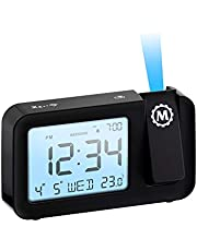 Marathon Night Owl 86 Ceiling Projection Alarm Clock with Backlight Display, Date, Indoor Temperature, Includes USB Charging Cable, AC Power Adapter and Batteries