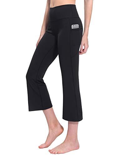 (TaiBid Women's High Waist Yoga Capri Pants Side Pockets Flare Workout Bootleg Crop Leggings, Black - L)