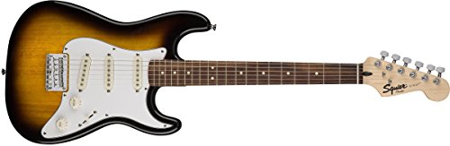 Squier by Fender Stratocaster Short Scale Beginner Electric Guitar Pack with Squier Frontman 10G Amplifier -Brown Sunburst Finish