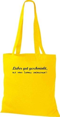 Shirtstown Stoffbeutel lustige Sprüche lieber gut geschminkt als vom Leben gezeichnet viele Farben gelb gCfdWo6vVi