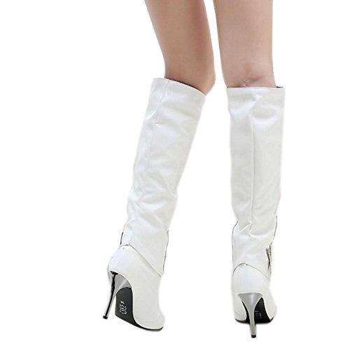 femmes Chaussures blanches et talons Bottes Mode Zanpa souples hiver à aiguilles pour wwxp6OtU
