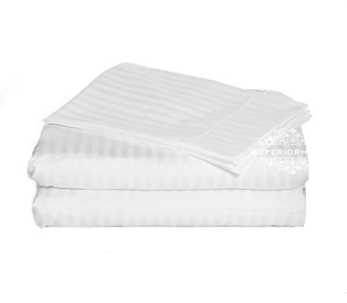 - Luxurious 300 Thread Count Full Size Sheet Set, 100% Egyptian Cotton Long Staple Yarns, Sateen Weave, 4pc set: Fitted/Flat/2 Pillow Cases,Durable & Soft, Deep Pocket up to 18