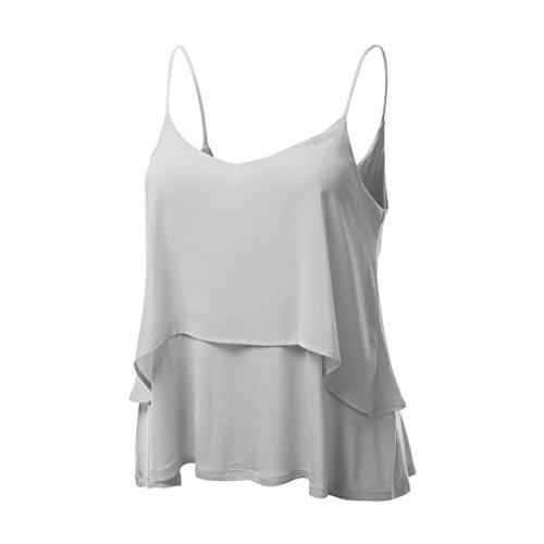 Gris Mousseline Sexy Tops Fluide t Double Dbardeurs OVERDOSE paisseur Caraco Shirt Femme T Blouse q0SO41wA4