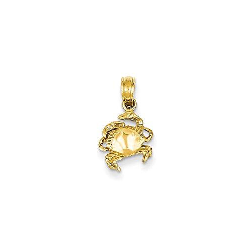 14k Crab Pendant (14k Gold Crab Pendant (0.59 in x 0.31 in))