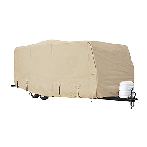 Goldline Travel Trailer RV Covers by Eevelle | Waterproof Fabric | Tan and Gray ()