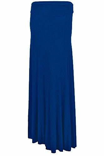 ul Women's Fashion Solid Jersey Knit Ruched Waist Comfy Maxi Stretch Soft Long Draped SSUrt USA CBL M Cobalt BlueMedium ()