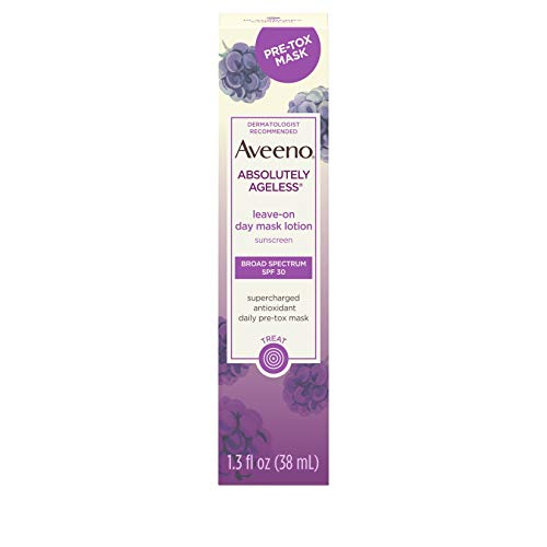 Aveeno Absolutely Ageless Leave-on Day Mask Face Lotion with SPF 30 Sunscreen, Blackberry Complex & Green Tea, Hypoallergenic, Non-Greasy & Non-Comedogenic, 1.3 fl. oz