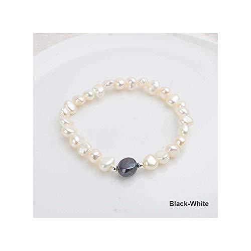 Honora Black Bracelet - Prosperous-Blooming 7-10mm Baroque Pearl Bracelets & Bangles,Black-White,20cm