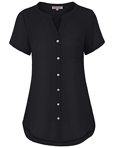Misswor Button up Shirt, Womens Split V-Neck Short Sleeve Tunic Top Button Down Round Hem Flattering Plain Casual Solid Chiffon Blouse for Work Office Wear Black M