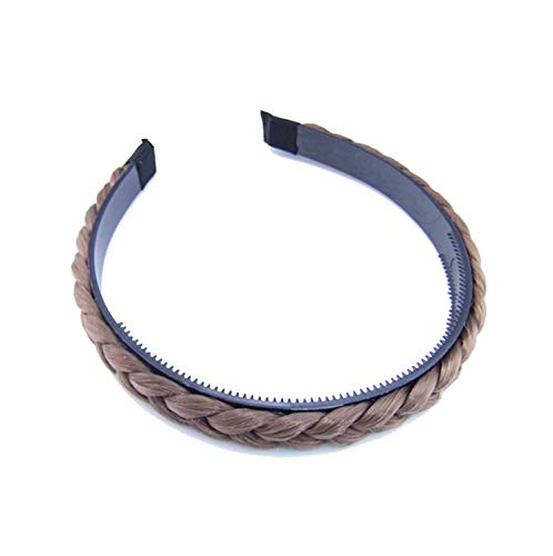 Head Bands For Women Headband Brown Black Cute Lady Girl Wig Braided Hair Band Plaited Hair Accessories,Light Coffee