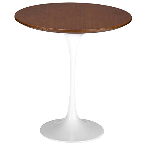Poly and Bark Daisy 20 Walnut Top Side Table in White