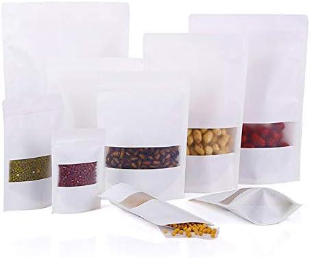 Evergreen Goods Bolsas con cierre de cremallera 50 unidades, 180 x 260 x 60 mm color blanco 200x300mm blanco