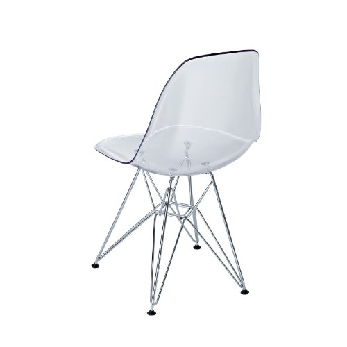 Modway Plastic Side Chair in Clear with Wire Base by Modway (Image #5)