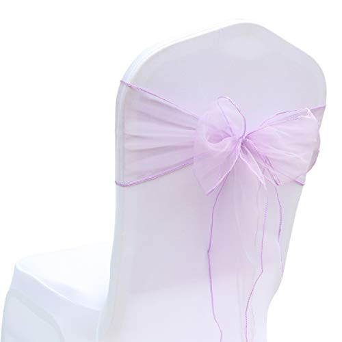BIT.FLY 25 Pcs Organza Chair Sashes for Wedding Banquet Party Decoration Chair Bows Ties Chair Cover Bands Event Supplies - Lavender