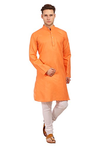 WINTAGE Men's Cotton Silk Festive and Casual Orange Kurta Pyjama by WINTAGE
