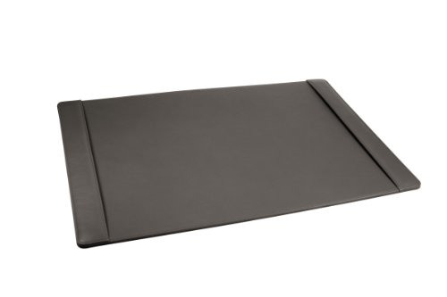 LUCRIN - Leather Desk Pad 2 sections - Smooth Cow Leather, Dark grey by Lucrin USA Inc.
