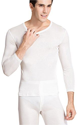 Wine Pure Silk (METWAY Men's Thermal Underwear Set Mulberry Silk Stretch 2pc Long John Underwear Small White)