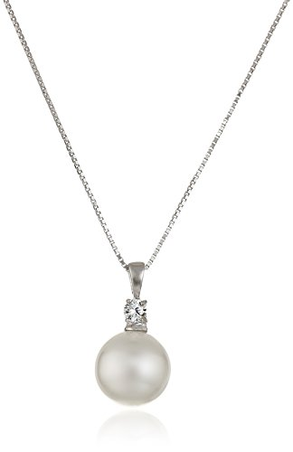 Sterling Silver Simulated Pearl and Cubic Zirconia Pendant Necklace, 18