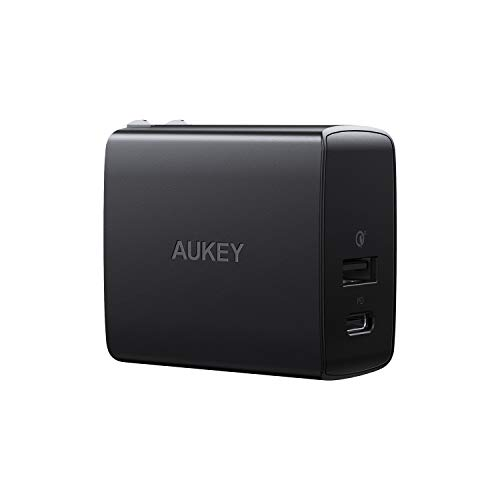 AUKEY USB C Charger with Power Delivery & Quick Charge 3.0 Ports, 18W USB Wall Charger, Compatible iPhone Xs/Xs Max/XR, Google Pixel 2/2 XL, Samsung Galaxy S9+ / Note9, LG, and More
