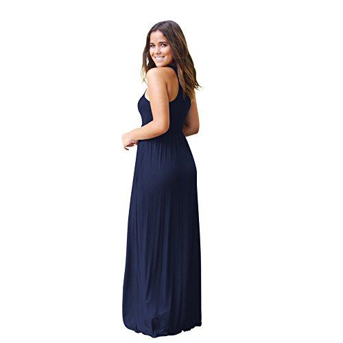 con Azul Vestidos Verano Ocasionales Vestidos de Oscuro de Sin Largos Maxi Ocasionales Bolsillos Vestidos señoras Largos Camiseta Vestidos Mangas Vestidos DEFOV wqSCn7TA