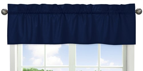 Solid Navy Blue Window Treatment Valance for Stripes Bedding (Cowboy Valance)