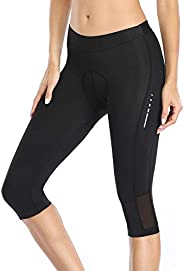 Santic Women's 3D Padded Compression Cycling Tights 3/4 Pants Wide Waist