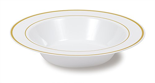 Select Settings [50 COUNT] Soup Bowls (12 oz.) - White with Gold Rim Plastic Disposable Bowls