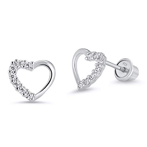(925 Sterling Silver Rhodium Plated Open Heart Cubic Zirconia Screwback Baby Girls Earrings)
