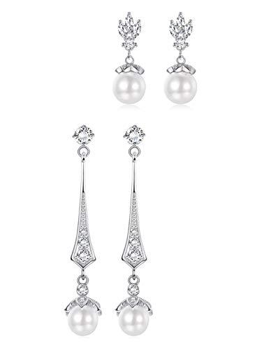 Bridesmaid Earring Pearl - Adramata 2 Pairs 925 Sterling Silver Pearl Dangle Earrings for Women Girls Vintage Drop Bridal Bridesmaids Earrings Set