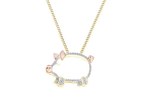 - Round Cut White Natural Diamond Accent Two Tone Pig Pendant in 14K Yellow Gold Over Sterling Silver
