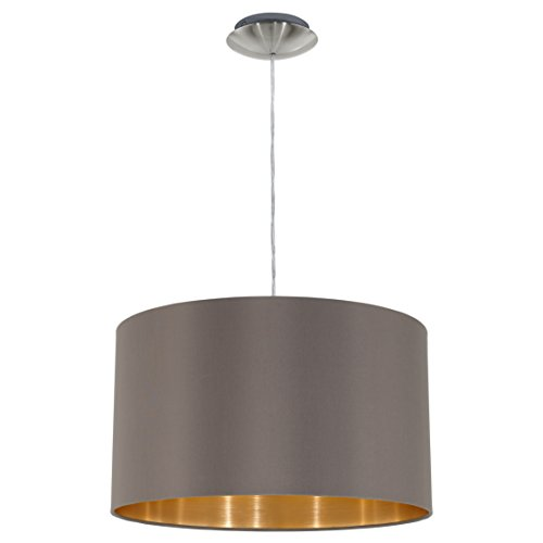 EGLO 31603 Hängeleuchte Maserlo Durchmesser 38 cm, Nickel-Matt Schirm, cappucino / gold stahl
